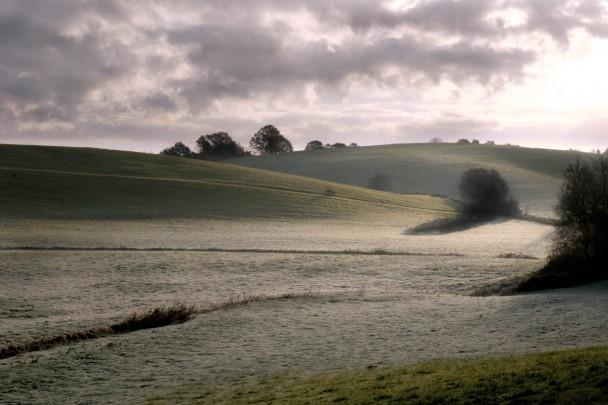 La luce radente della mattina presto, la foschia e le ombre decise sulla gelata invernale. Una storia